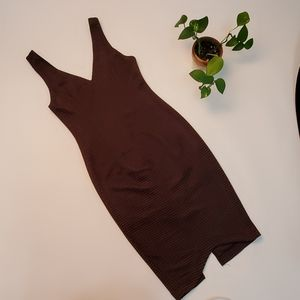 Brown/black body con midi dress